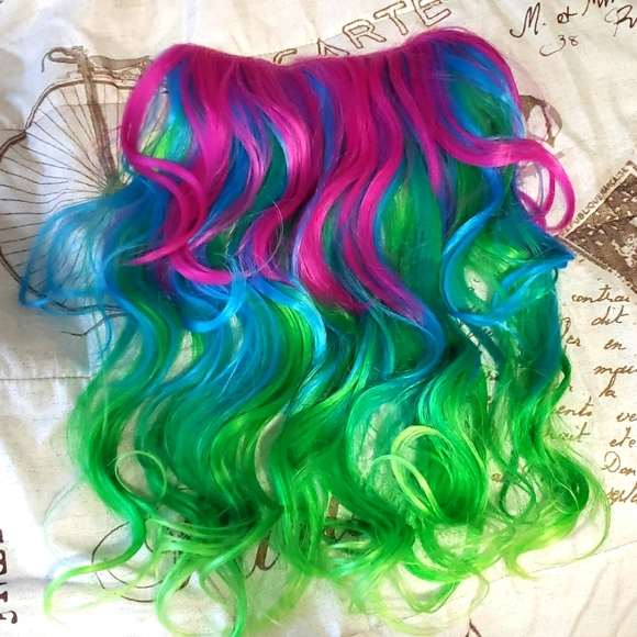 Rainbow ombre One Peice Clip In Extensions